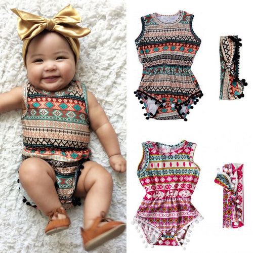 Multi-Motif Tassel Sleeveless Bodysuit and Headband for Baby Girl