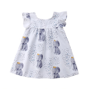 Lovely Elephant Print Flounce-sleeve Dress