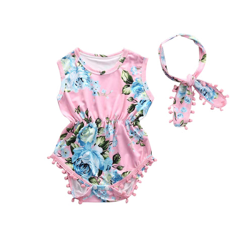 2-piece Tassel Floral Sleeveless Bodysuit and Headband for Baby Girl