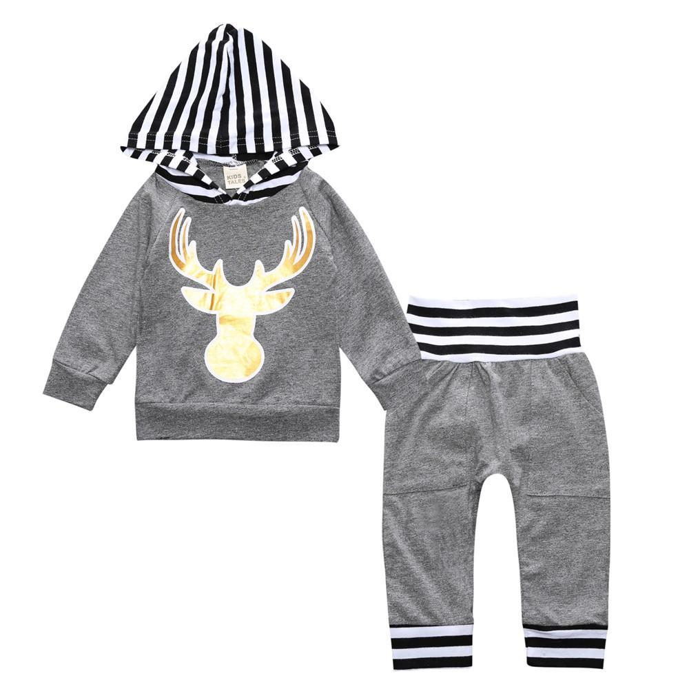 Grey Hooded Deer & Striped Pants 2PCS Outfits