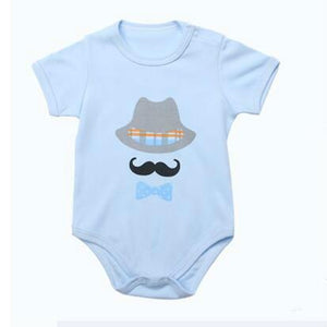 Onesie - Mustache & Hat Blue Bodysuit For Baby Boy