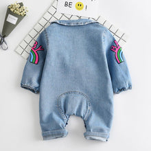 Rainbow Long-Sleeve Denim Jumpsuit For Babies