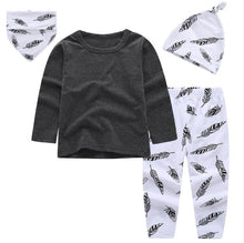 Classic Feather Print 4pcs Outfit