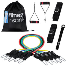 Load image into Gallery viewer, Fitness Insanity Resistance Bands Set – Include 5 Stackable Exercise Bands with Carry Bag, Door Anchor Attachment, Legs Ankle Straps & Bonus eBook – 100% Life Time Guarantee (Resistance Band)