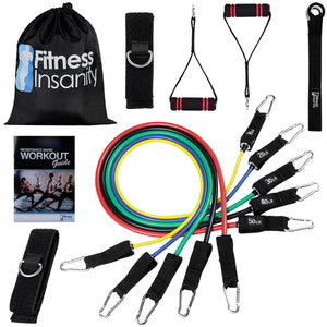 Fitness Insanity Resistance Bands Set – Include 5 Stackable Exercise Bands with Carry Bag, Door Anchor Attachment, Legs Ankle Straps & Bonus eBook – 100% Life Time Guarantee (Resistance Band)