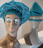 Blue African Satin Lined Bonnet, African Hat For Women, African Printed Fabric Hat