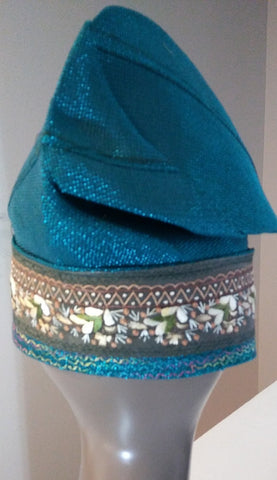 Blue African Hat For Women, African Fabric Fabric Hat
