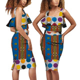 Africa Fabric Wax Print Skirt Sets Dashiki  2 Pieces Suit Ankara Fabric Design For African Women Clothing