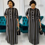 New Fashion  Shirt collar African chiffon Loose Long Dashiki Traditional Party Dress For Lady (CPXF04))