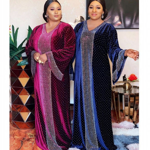 Velvet African Dresses For Women Africa Clothing Muslim Long Maxi Dress Ethnic Quality Fashion African Dress For Lady