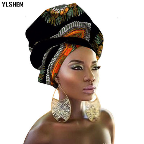 Wax Turban African Head Wraps Tranditional Style 100% Cotton Print African Headtie for Women Dashiki African Head Scarf 90*110cm