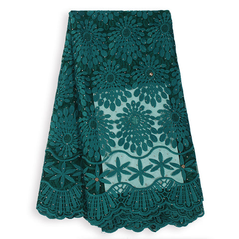 Hot Sales French Lace Fabric High Quality Cord Lace Nigerian Lace Fabric With Stones For Women Party Dresses African Tulle Lace