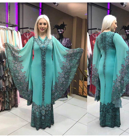 Fashion style summer v-neck Kaftan African Women printing long dress Boubou