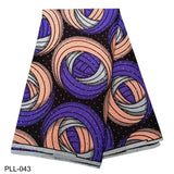 2019 New African printing wax fabric 6 yards polyester ankara wax fabric with glitter stones for garments PLL036-049