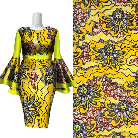 2019 New Ankara African Printing Wax  Fabric Real Dutch Wax Fabric 100% Cotton High Quality Sewing for Woman Party Dress 6yards