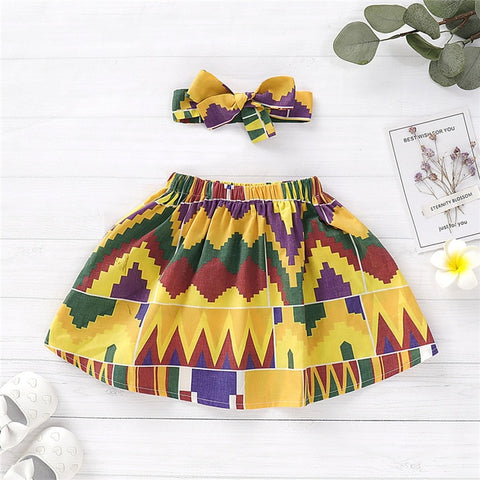 Girls African Fashion Style Dashiki 5Colors Printed Summer Skirt with Headband Children National Cotton Africa Clothes