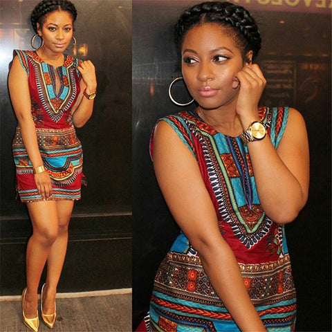 Ladies National Print Dress African Style Summer Dashiki Women Riche Bazin Africa Clothes V-neck Short Dress