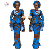 Africa Style Bazin Riche Dresses for Women Two Pieces Set Women Long Sleeve Tops and Long African Print Skirt Plus Size WY2488