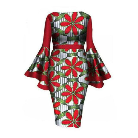 Hot Sale L-6XL African Style Dress Dashiki for Woman Elegant Floral Ankara Bazin Riche Bell Sleeve Party Sexy Bodycon Dresses
