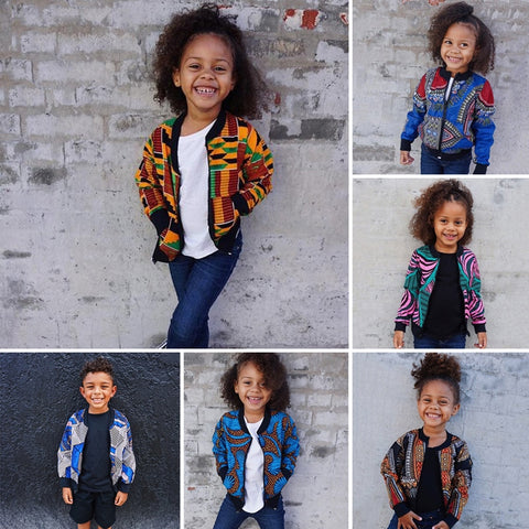 2019 autumn elegent fashion style african children printing polyester plus isze coat
