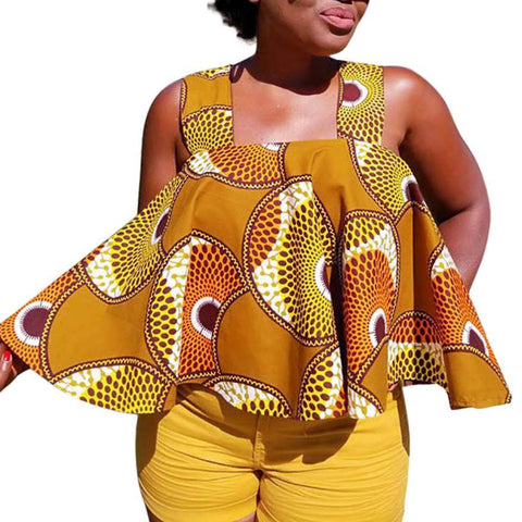 Summer Fashion Style African Print Fabric Women Top plus size t-shirt S-XXL