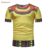 BOHISEN African Style Print Men's Dashiki Tee Shirt Round Neck Yellow Colorful Short Sleeve Pullover T-shirt Festival Top