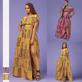 African wear Pop Ethnic Style Digital Printing off shoulder High-waist Open-forked Half-length Skirt suit for women JQ-10043