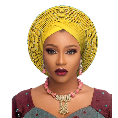 african headtie nigerian headtie with beads stones auto gele african gele for women wedding party