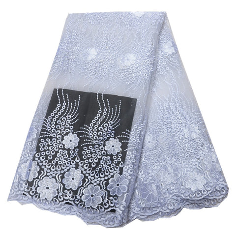 white lace fabric high quality lace Nigerian lace fabric for women dress African tulle lace with stones 5yards per piece