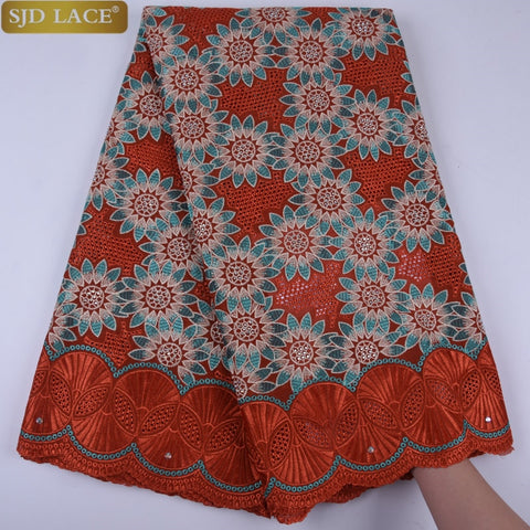 African Lace Fabric 2019 High Quality Lace Swiss Voile Lace In Switzerland Red Fabric With Stones A1278