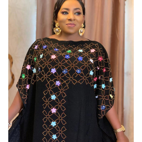 Boubou Chiffon Diamond Sequin Long Dress Kaftan For Women