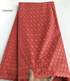 Champagne Soft Polish Cotton Lace For Men African Voile Lace Swiss Fabric 5 yards per piece