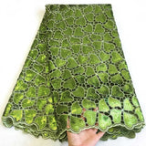 African Swiss voile lace 100% Sequin dress fabric Latest Nigerian Eco-Friendly High Quality African Organza Lace F4-285