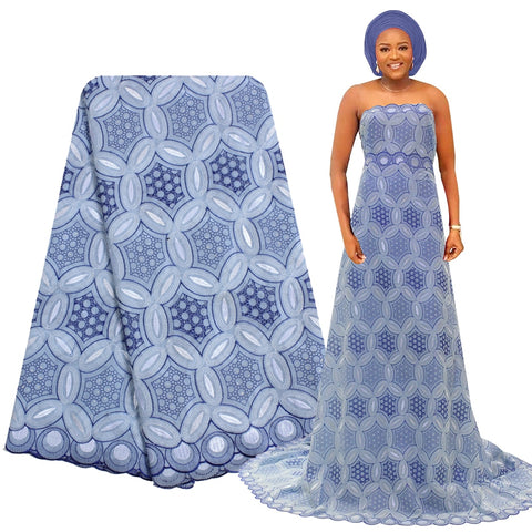 Bestway Polished Cotton Lace Fabric Embroidery Swiss Voile Lace Fabric Sky Blue Dry Lace Fabric For African Nigerian Women Dress