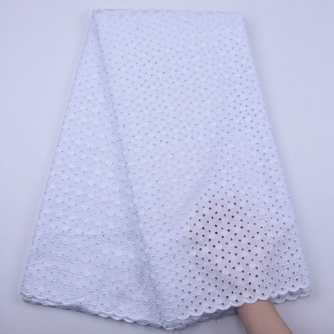 White Swiss Voile lace High Quality Soft Eyelet Embroidery African Lace Fabric Nigerian Cotton Lace For Sewing Dress Y1849