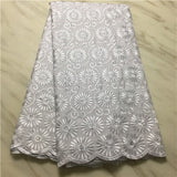 Afrian  Cotton Lace Fabric Dressed Swiss Voile Lace In Switzerland With Stones For Dress Cotton Lace fabric pl14-97
