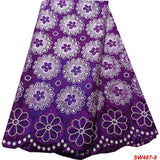 African Lace Fabric Latest Nigerian Swiss Lace Fabric High Quality Purple Cotton Swiss Voile Laces Switzerland For Women SW487