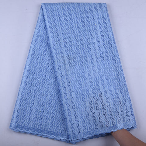 Sky Blue Nigerian Cotton Lace Fabric High Quality Swiss Voile Lace African Unisex Voile Lace Fabric S1332
