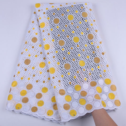 White Yellow Swiss Voile Lace Fabric With Stones Embroidery Swiss Lace Fabric High Quality Swiss Voile Lace In Switzerland