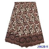 High Quality Latest Small African Embroidered Fabrics Online Cotton Swiss Voile Lace Austria QF2962B-6