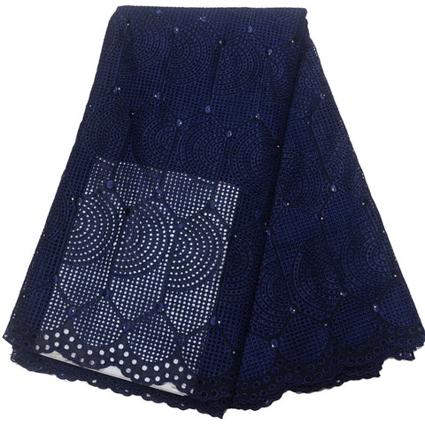 (5yards/pc) High Quality African dry cotton lace fabric navy blue Swiss voile lace fabric for party dress CLP265