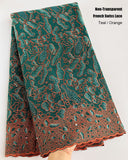Teal Orange double embroidery french lace mix African Swiss voile lace Non Transparent Couple Fabric 5 yards traditional clothes