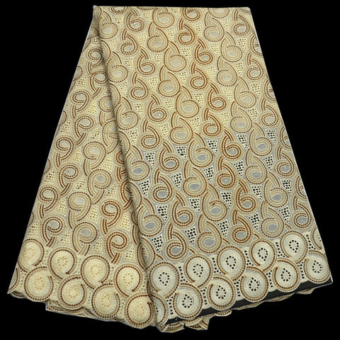 5 colors  High quality cream color African cotton lace fabric elegant embroidered Swiss voile lace for party dress CLP178