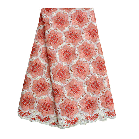 New African Embroidered Flower Eyelet Swiss Voile Lace Fabric Cotton In Switzerland Peach Lace Fabric Nigerian Lace