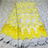 African Swiss Voile Lace High Quality African Guipure Lace Fabric With beads Stones Embroidered Lace Fabric For Party yellow