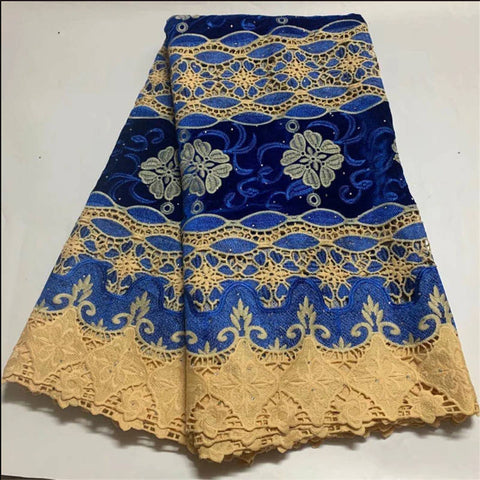 Blue African Lace Fabric High Quality Embroidered Stones Nigeria French Lace for Party Swiss Voile Lace in Switzerland Wedding