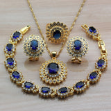 New Big Flower Yellow Gold Color African Women Jewelry Sets With Blue Natural Stone CZ Clip Earrings/Bracelet Necklace Sets