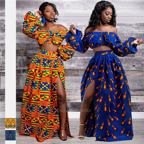 African Dresses for Women New Ladies Full Sleeve Shoulder Off  Dashiki Print Split Skirts Autumn Africa Clothes
