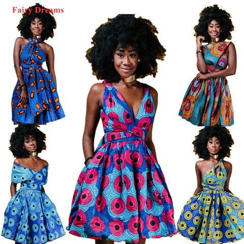 Women's African Dresses Dashiki Ankara Sundress Elegant Multiple Wear Batik Traditional African Clothing 2020 New Style