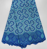 Soft cotton voile lace African swiss lace fabric with stones 6209 Royal blue High quality 5 yards